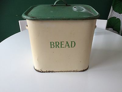 Vintage Cream And Green Enamel Bread Bin