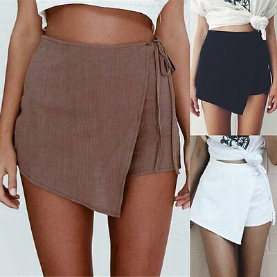 Women Vouge Skorts Shorts Skirts Casual Irregular Flanging Wrap Plain Culottes