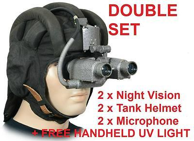 PNW-57  DOUBLE SET 2 x NIGHT GOGGLES AND HELMET + HANDHELD UV (COLD WAR )