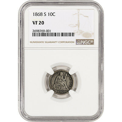 1868-S US Seated Liberty Silver Dime 10C - NGC VF20