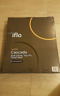 Iflo Cascada SOFT CLOSE TOP FIX Toilet seat BRAND NEW easy fit WHITE Pearl