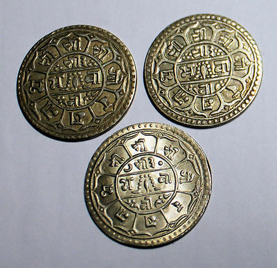 Vintage silver Nepal Mohurs coins