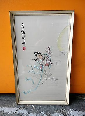 Lovely Vintage Framed Chinese Embroidered Silk Wall Art