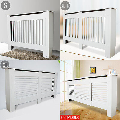 Radiator Cover White Painted Wall Cabinet Wood MDF Heating Covers Shelf S/L/XL