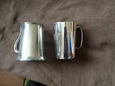2x vintage pewter and epns tankards