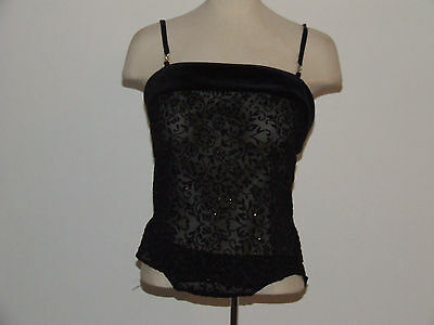 """fastasy Lingerie"" Cami/vest & Knickers Sheer Black&velour Floral&diamante Fab"