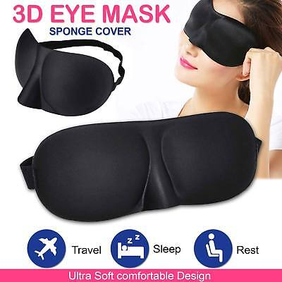 Soft Padded Sleep Mask 3D Sponge Eye Cover Travel aid Rest Blindfold Shade