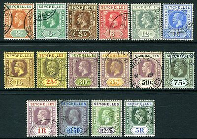 SEYCHELLES-1917-22  A fine used set to 5r Sg 82-97