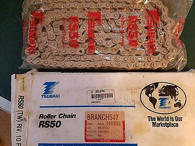 New Tsubaki Rs50 Roller Chain 10Ft Nickel Plated