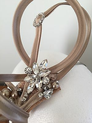 ascot wedding mother of the bride hat taupe champagne fascinator bridesmaid