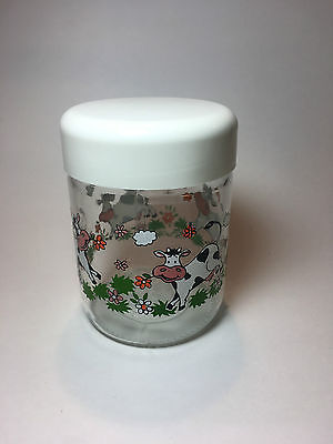 Vintage Clear Glass Cow Canister Covered Jar
