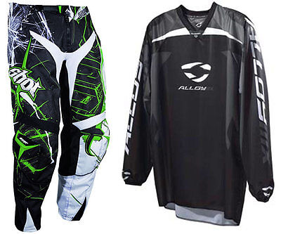 SHOT HEAVY BLACK GREEN MOTOCROSS KIT PANT ENDURO with ALLOY REACTOR JERSEY