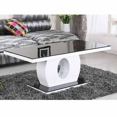 Modern High Gloss White And Black With Glass Top Coffee Table