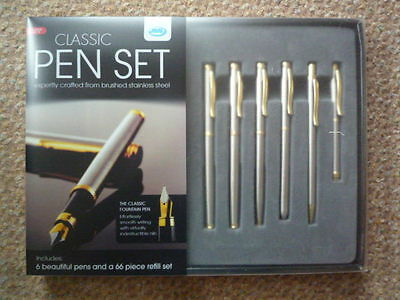Pen Set crafted from brushed stainless steel