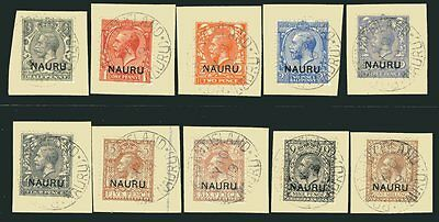 NAURU-1916-23 A very fine used part set to 1/- all on piece Sg 1 2 4 6-12