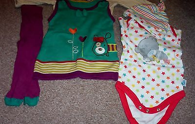 mixed bundle girls clothes vgc 0- 3 month m&s tatty ted hat pinafore tops tights