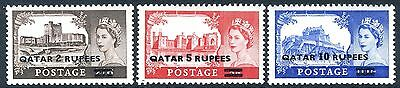QATAR-1957 Castle High Values with Type II Surcharge Sg 13a-15a LIGHTLY MOUNTED