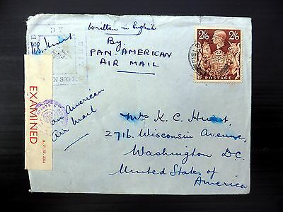 GB 1941 G.VI - 2/6 Brown Censor Cover with F.P.O. CDS to USA Small/Faults XZ288