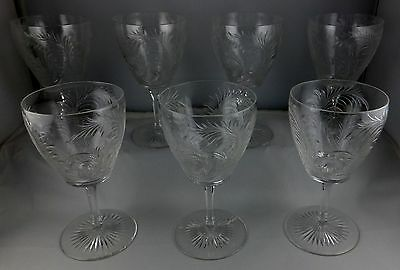 Seven Antique Crystal Ornately Engraved Floral Wine Glass Goblets