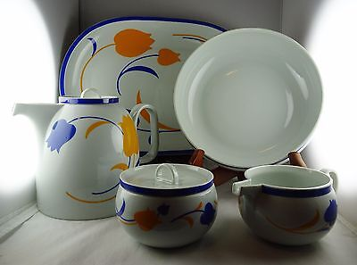 5 Pcs. Block Vista Alegre China Hearthstone Tulip - Platter, Coffee Pot, Bowl++