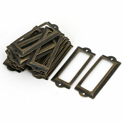 Office Library Iron Retro Style Tag Label Holder Bronze Tone 83mmx33mm 30pcs