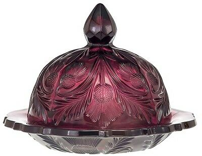 Covered Round Butterdish - Inverted Thistle Pattern - Mosser USA Amethyst Glass