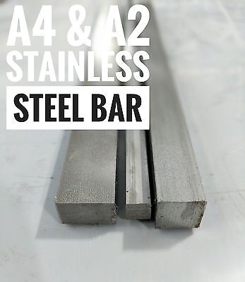 A4 316 Stainless Steel Bar and A2 Cut Lengths 250mm & 200mm Various Sizes