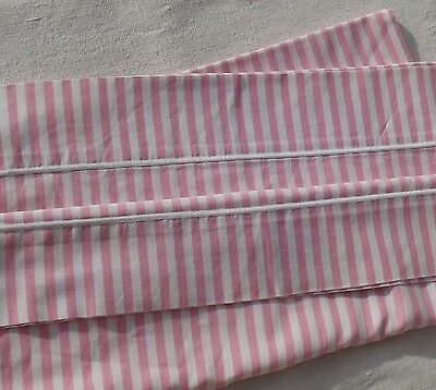 Vintage French Fabric Pink Candy stripe Bolster Cover Pillow Slip Bench Cushion