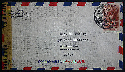 "Mexico 1945 Censored Cover ""Examined by 31262"" from Mexico City to Easton PA USA"