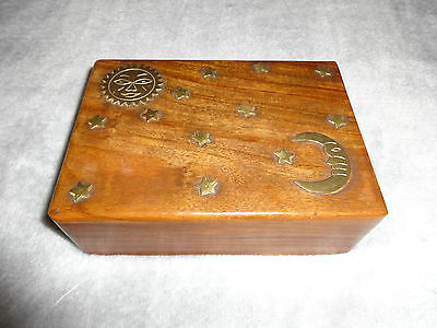 Beautiful Wooden Trinket Chest Box With Brass Sun, Moon & Stars Inlaid On Lid!