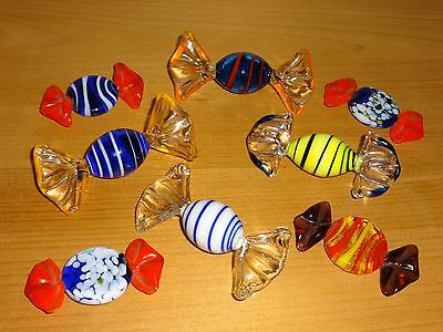 Gorgeous Authentic Colourful Glass Murano Sweets X 8 - Highly Collectable!