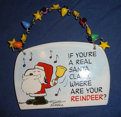 Snoopy Peanuts Department 56 Santa Plaque Hanger Wall Decor