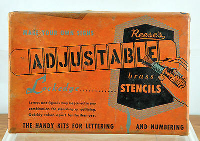 Vintage Reese's Lockedge Adjustable Brass Stencils - Numbers and Currency Signs