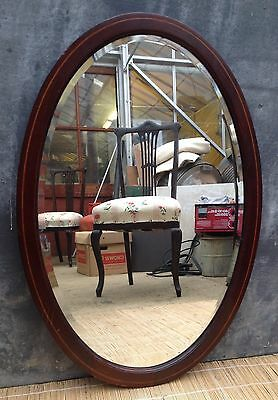 Edwardian oval mahogany bevelled mirror originally from a dressing table