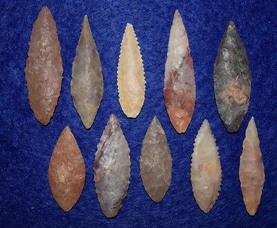 10 good Sahara Neolithic ovate form projectile points