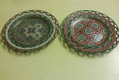 Pair Of Vintage Indian Brass Enamel Decorative Plates