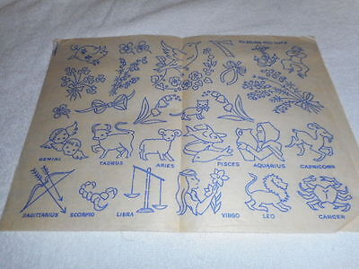Vintage Embroidery Iron on Transfer-To Bring you Luck - Zodiac / Birds / Flowers