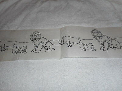 """Vintage Embroidery Iron on Border- Cats and Dogs -  14""""  x  3 3/4"""""""