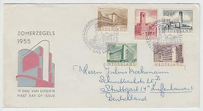 Netherlands 1955 Cultural Fund Illustrated Fdc To Stuttgart