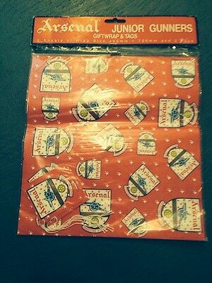 Vintage rare 1980's Arsenal old crest Gift Wrapping Paper - Unopened