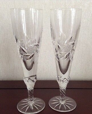 Beautiful Pair Crystal Glass Champagne Flutes
