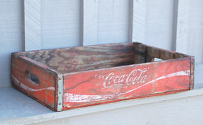 Vintage Wooden Red Coca-Cola Coke Soda Pop Bottle Crate Carrier Tool Open Box