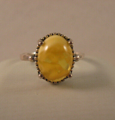 Vintage Sterling Silver 925 Baltic Amber Butterscotch Ring~Size 8.5