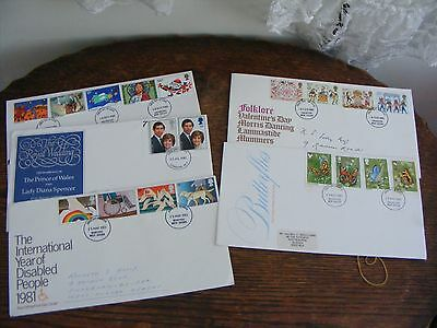 5 FIRST DAY COVERS  1981 inc  ROYAL WEDDING, FOLKLORE, BUTTERFLIES, +  (30)