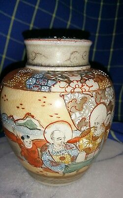 Antique Japanese Satsuma Tea Caddy & inner/Outer Lids~Signed~Raised Enamel~Excon