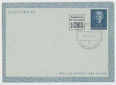 NETHERLANDS 1952 30c + 5c AIRLETTER CTO