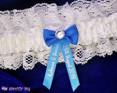 Personalised Royal Blue & White Garter Wedding, Handmade Lingerie Crystal Bride