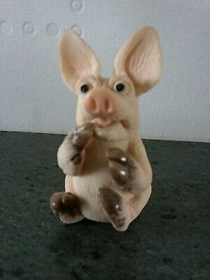 "David Corbridge Piggin Collectors Pig Ornament Titled ""piggin Petrified"""