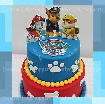 Paw Patrol Logo Badges Marshall Chase Rubble Cup Cake Toppers Edible Icing Sheet