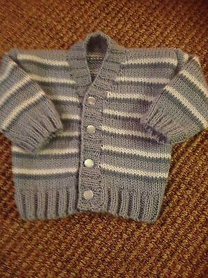 Hand Knitted Baby Boy Cardigan 3 Months